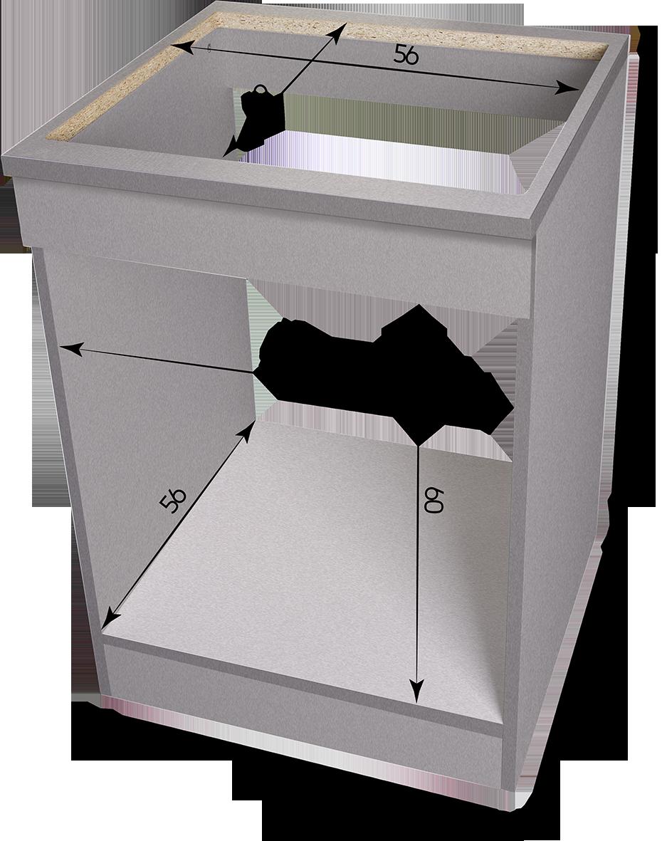 Meuble Four Plaque Induction meuble bas de cuisine 60 cm gris argent pour plaque et four